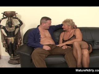Mature Blonde gets 2 cocks