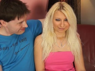Sexy blonde party girl bangs a wierdo in all positions