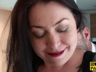 Brit sub slut Nikki Gold in stockings fucked