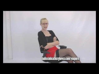 Blonde milf secretary nurse teases you with her tits legs and leather gloves fetish