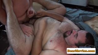 Chubby mature bear cocksucking before anal