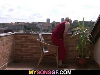 Horny old man seduces his son's GF