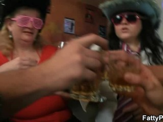 Three big beautiful women strip for guys in the bar