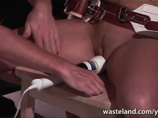 Brunette sex slave brought to orgasm as she sucks her Masters dick