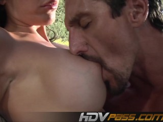 Brunette Amy Fisher with big tits fucks outdoor.mp4