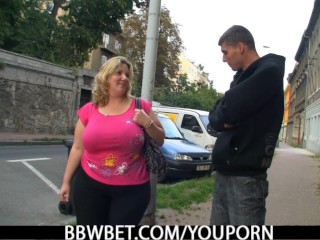 Busty fat girl and skinny guy