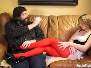 Sexy blonde giving a great footjob