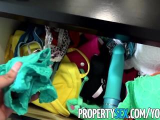 PropertySex - Hot Latina tenant with big tits busts pervert landlord panty sniffing