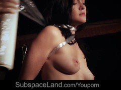Picture Obsessive spanking for busty slave ball gagg...