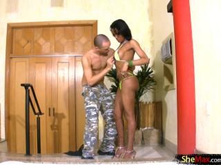 Ebony TS queen reveals huge boobs and gets her cock sucked