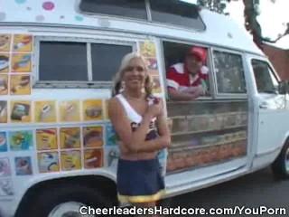 Cheerleader Sucks On Ice Cream Guys Cock