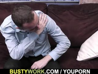 Super huge tits ebony secretary in fishnets
