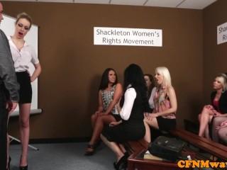 Masturbation/eurosex/group humiliating in femdoms cfnm