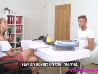 FemaleAgent Sexy blondes tight wet pussy empties studs balls