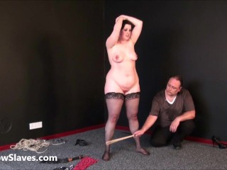 Fat masochists feet whipping and boot licking humiliation in sadistic bbw bdsm session of amateur slave girl Emma