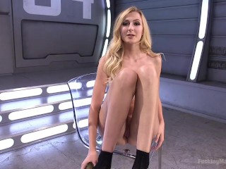 HOT BLONDE GETS SPLIT DOWN THE MIDDLE BY FUCKING MACHINES