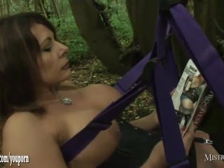 Horny mistress orders cuckold slave to watch her fuck a real big cock