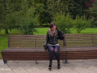 Jeny Smith high heels black pantyhose public walk
