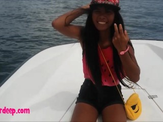 Heather deep go out on the boat and walk in the deep jungle gives a quick blowjobs deepthroat and throa