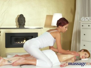 Massage Rooms Oily lesbian sex for beautiful big tits Asian babe main image