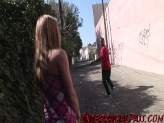 Picture Sweet Emily gets pounded by some massive bla...
