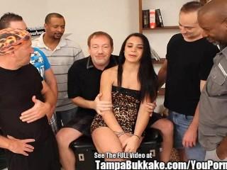 Tight Latina Slut Bukkake Gang Fuck