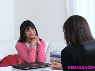 FemaleAgent Sexy lesbian sofa sex orgasms with strap on cock
