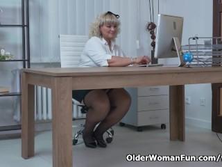 BBW milf Renatte will brighten up your day in the office