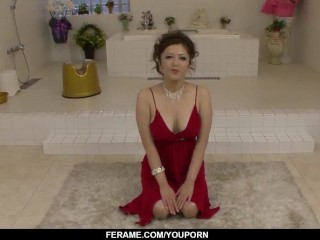 Busty Meisa Hanai gives head before a wild fuck