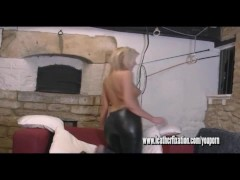 Picture Hot blonde puts on tight pants and busty nak...