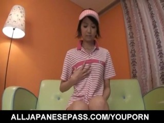 Miriya Hazuki sexy Asian candy striper fingers hairy pussy while on the couch in hot solo show including a large vibrator in her sweet pussy