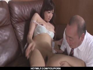 JAV pornography with an mature man for Mizuki Ogawa