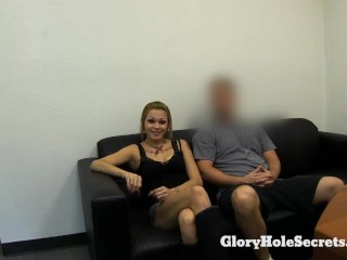 Tattooed Slut slurps up cum in gloryhole