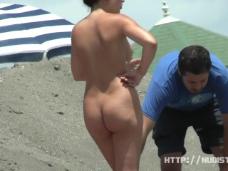 Hidden cam beach catches sexy nudist women