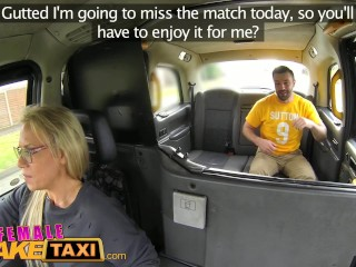 Busty milf fucks Sutton fan and takes a facial on match day