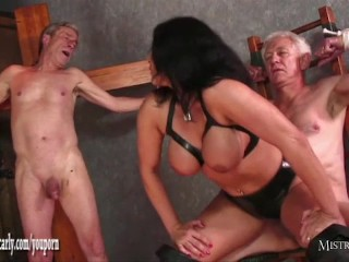 Busty Mistress Carly feeds cuckold slave her steaming hot spunky beaver after fucking immense shaft