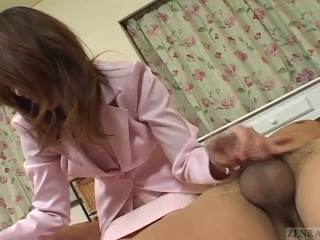 Subtitled uncensored Japanese handjob and blowjob threesome