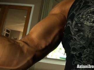 Muscle bound Milf uses her glass dildo till she cums
