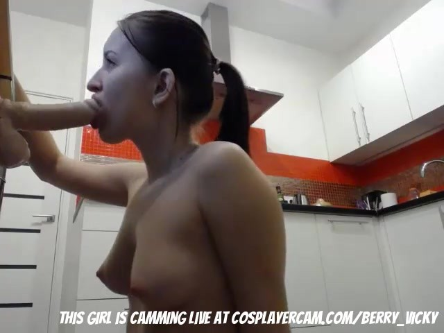 College Girls Practicing Her Blowjob Skills In The Kitchen -7083