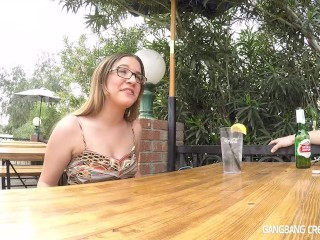 18 yo gets a interview and car fun before she gets gangbanged