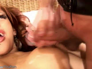 Shemale foursome ends up by swallowing messy cumshot loads