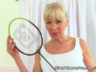 English gilf Elaine sticks a badminton racket up her vagina