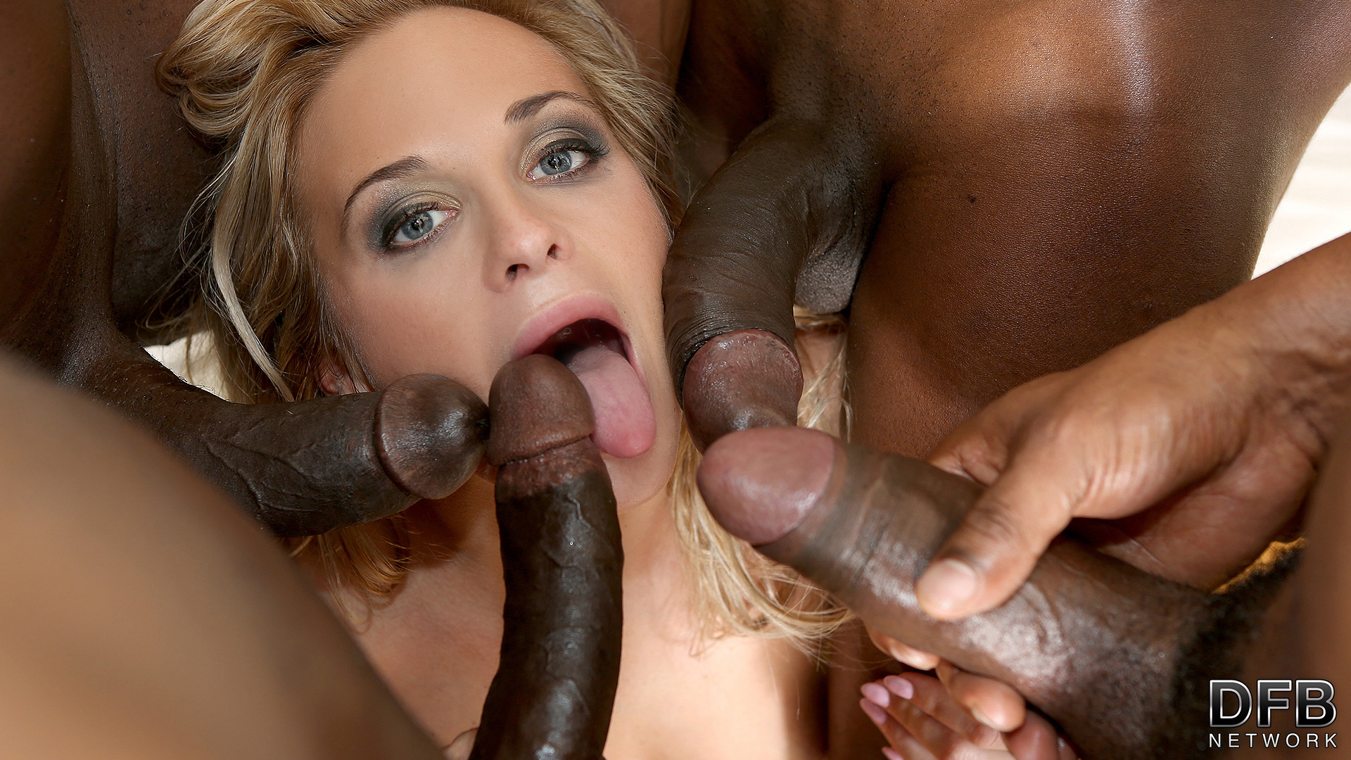 Interracial gangbang facials