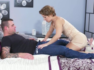 MOM Short haired babe sucks her lovers fat dick before anal creampie