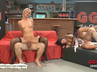 Two Sexy chicks fucked and glazed side by side - German Goo Girls