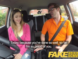 Fake Driving School Big tits Italian college student fucks for early exam