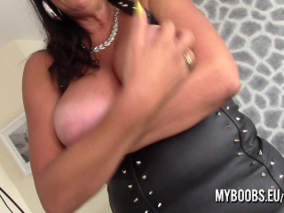 Busty Cougar Lulu Lush bondage her huge natural boobs