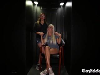 6 random Girls Suck tons of strangers cocks through a gloryhole