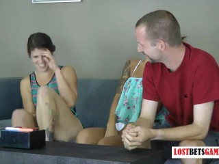 2 Girls and One Guy Play a Game of Speed, Loser Gets Tarred
