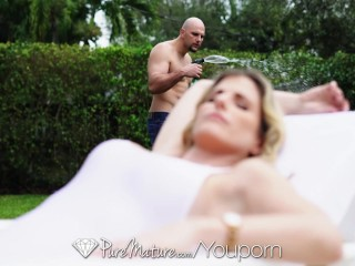 PUREMATURE Busty blonde Cory Chase begs for after pool anal